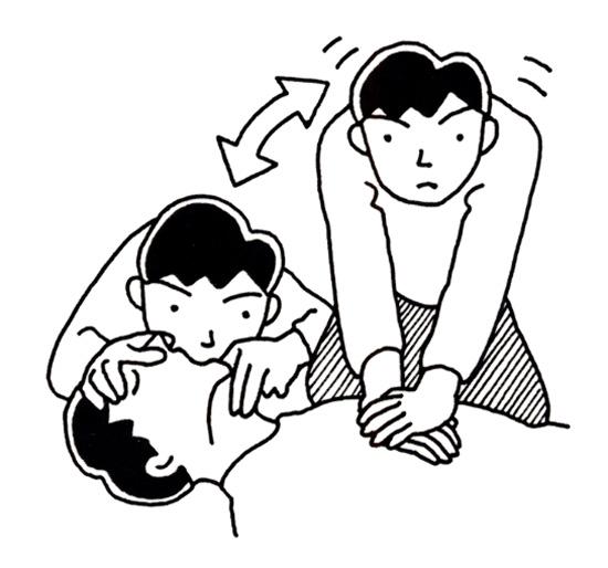 胸骨圧迫30回と人工呼吸2回を交互に行う